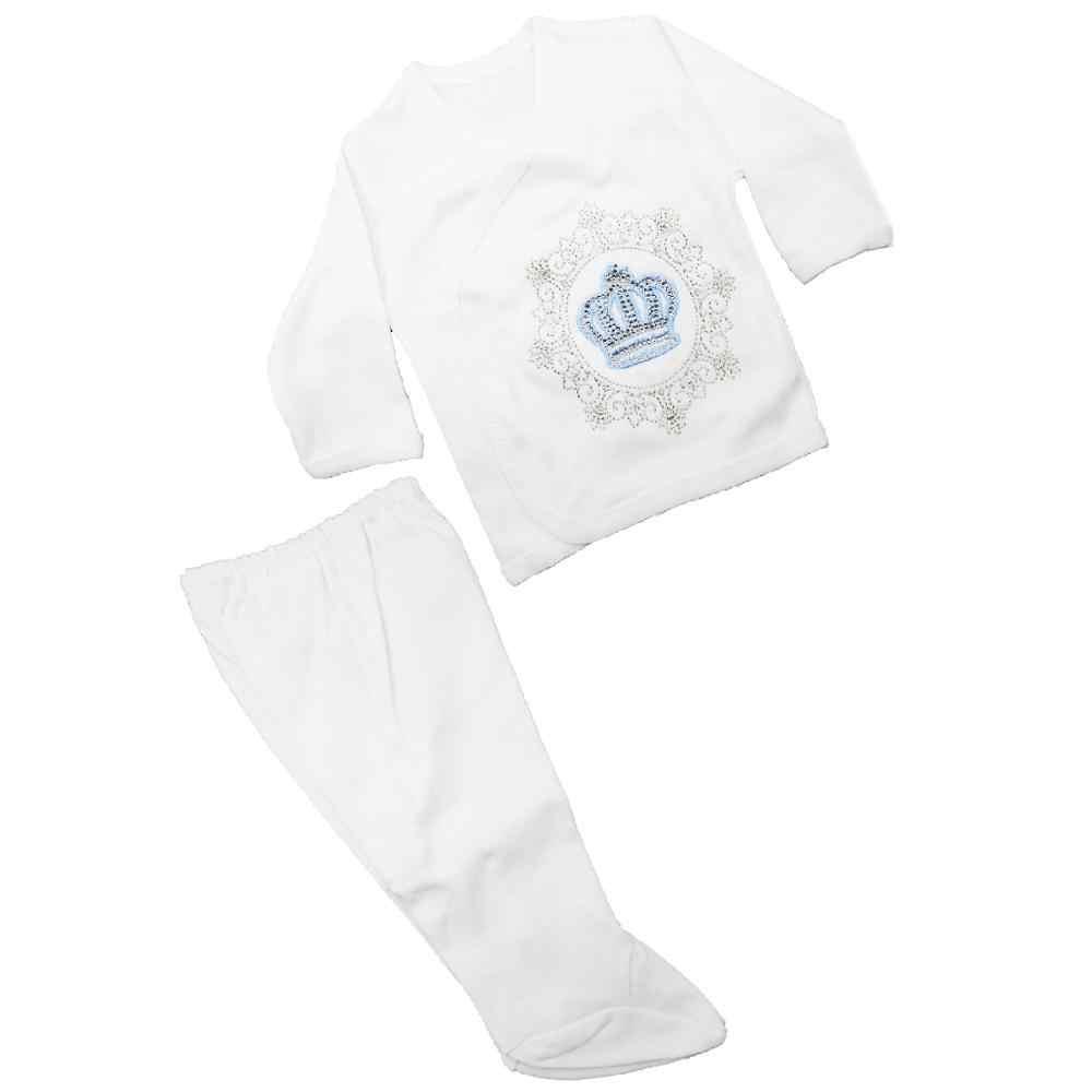 יילוד תינוקות פעוט תינוק ילד וילדה בגדי סט 5pcs ארבע עונת חורף כותנה גביש חולצה, מכנסיים, סינר, כובע, 0-3 חודשים