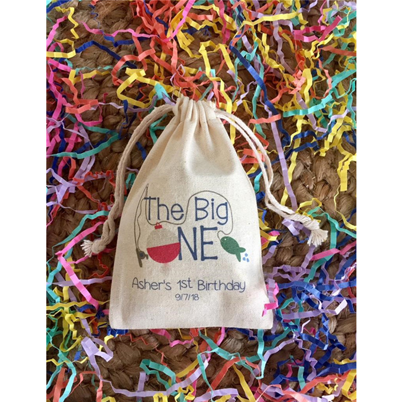 The Big One Fishing Theme Favor Bag Personalized First Birthday Party Favor Bags Treat Bags Baptism Welcome Drawstring  Gift Bag
