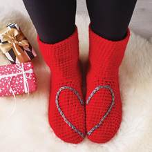 Chaussettes pantoufles avec cœur d'amour, Gris, Bleu Marine, Rouge, Prune, Noir, Sarcelle, saint-valentin, Noël, Fête des Mères, tai