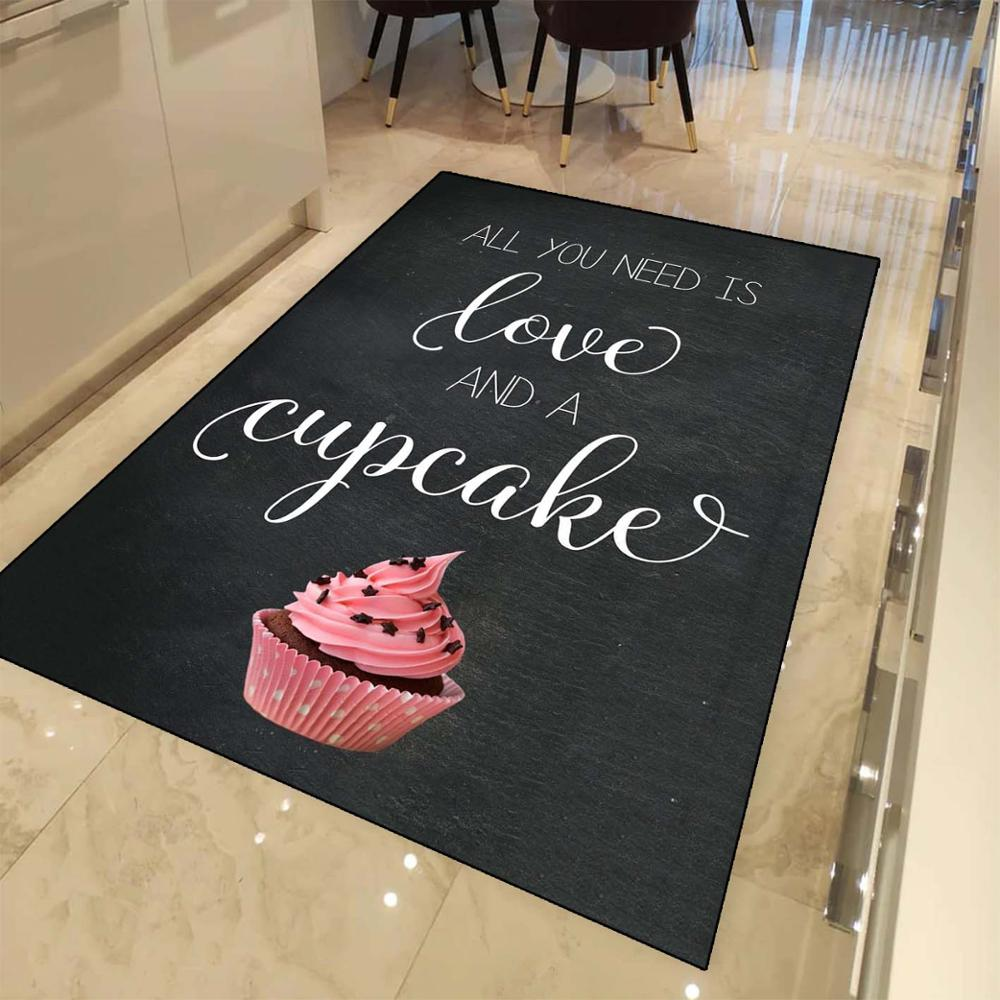 Else Black Board On Pink Cup Cakes Loves 3d Print Non Slip Microfiber Kitchen Modern Decorative Washable Area Rug Mat