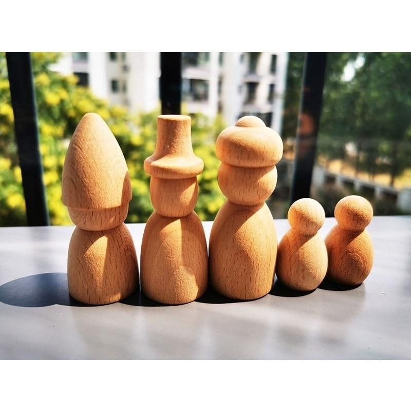 5pcs/set Wooden Toys Handmade Painting Beech Wooden Peg Dolls Kids Wood Doll Toy DIY Paint Craft Toy