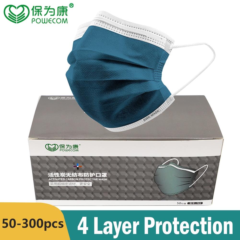 POWECOM – masque facial jetable à 4 couches, respirateur, buccal non tissé, au charbon actif, anti poussière  