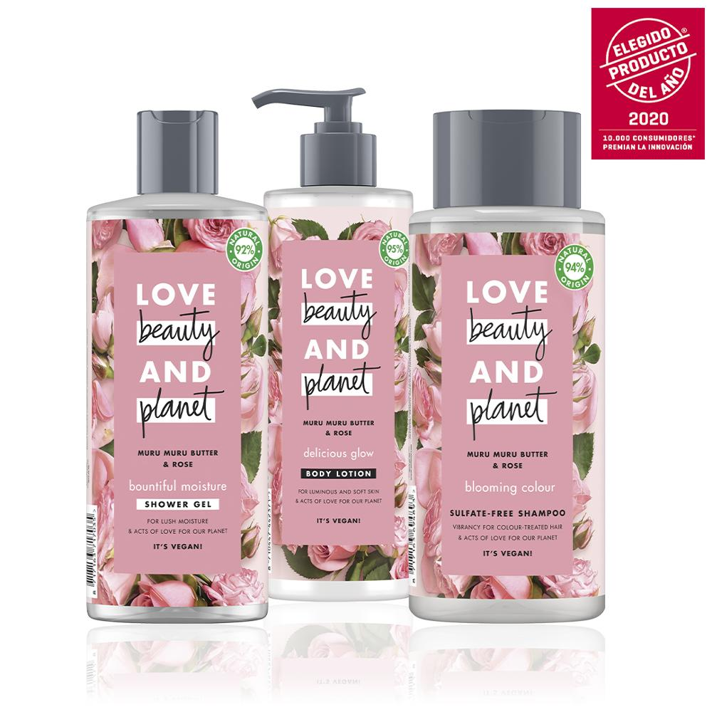 LOVE BEAUTY AND PLANET Set Sampoo, Shower Gel And Body Lotion Butter De Muru Muru And Roses Vegan Package 100% Recycled