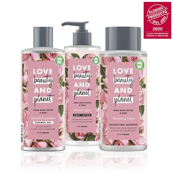 LOVE BEAUTY AND PLANET Set sampoo, shower Gel and body lotion butter de Muru Muru and roses vegan Package 100% recycled shower gels dove cream shower gel for plum and sakura flowers 250 ml beauty