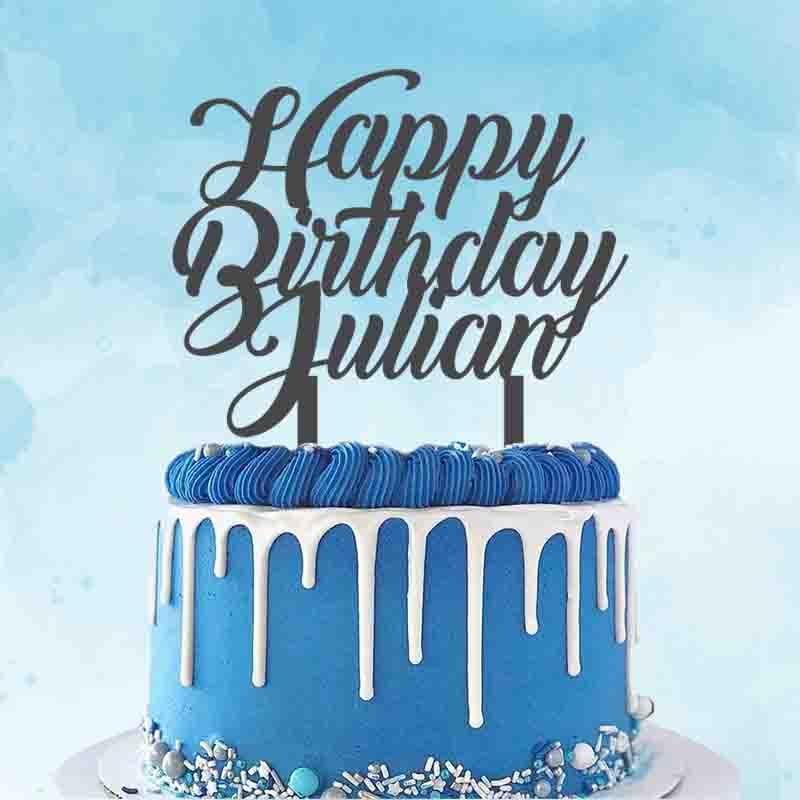 Personalized Birthday Party Cake Topper Custom Name Happy Birthday+Your Name Cute Cake Topper For Birthday Party Cake Decoration