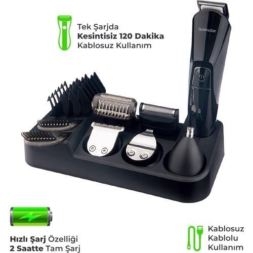 GOLDMASTER AZUR GM 8106 KIT de soins pour hommes 14 en 1 KIT de soins pour hommes tendance KIT de coupe de cheveux MACHINE à raser RECHARGEABLE
