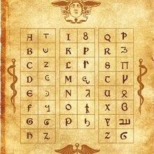 Алфавит Гермеса пергамент плакат wicca pagan Печать Искусство ведьма magick руны