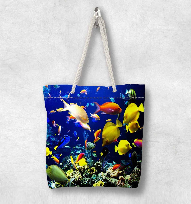 다른 바다 물고기 아래 열 대 수족관 새로운 패션 화이트 로프 핸들 캔버스 가방 코 튼 캔버스 지퍼가 달린 된 토트 백 어깨 가방