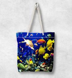 Else тропический аквариум под морскими рыбками Новая модная белая парусиновая сумка с веревочной ручкой хлопковая парусиновая сумка на молн...