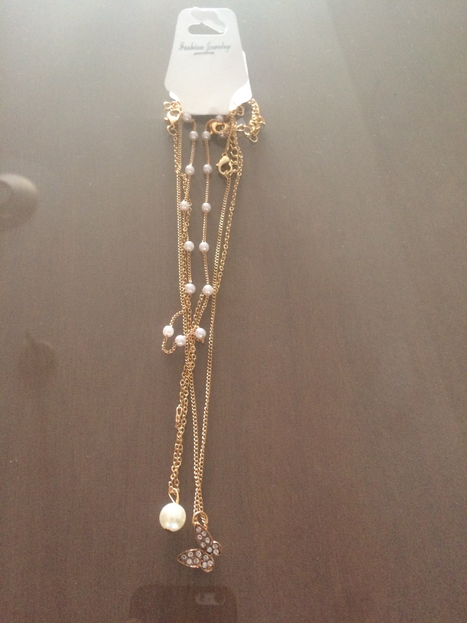 Trendy Multilayered Butterfly Pearl Necklace photo review
