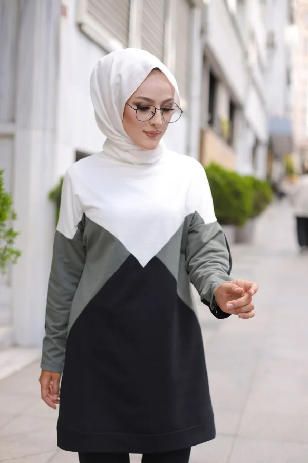 Women Asymmetric Tunic Blouse Sport Wear Islamic Clothing Female Fashion Stylish Hijab Muslim Sport Wear English