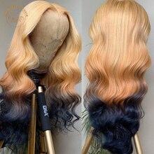 Парик Омбре из оранжевых и черных волос, волнистые передние парики на сетке 13 х4, бразильские волосы полной плотности, 2 оттенка, цветные пари...
