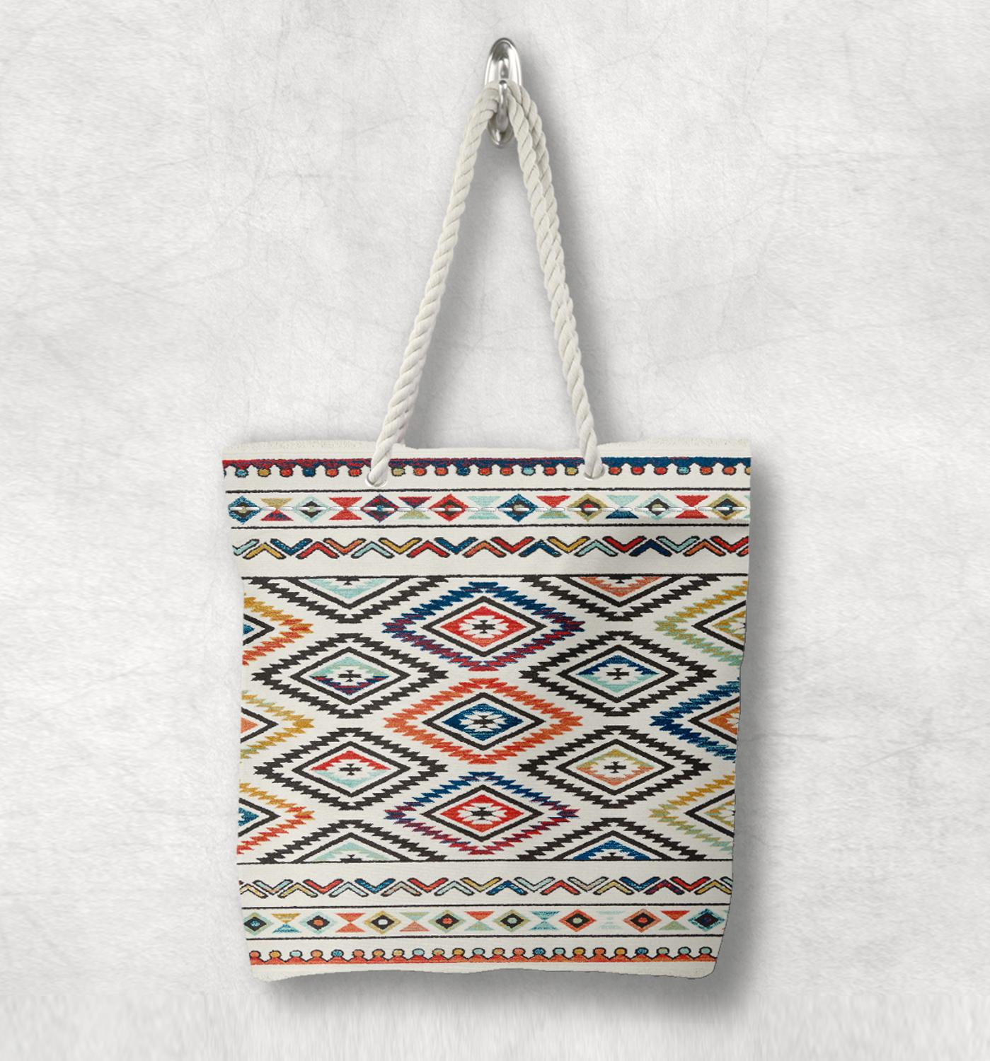Else Colored Antique Anatolia Turkish Kilim Design White Rope Handle Canvas Bag Cotton Canvas Zippered Tote Bag Shoulder Bag