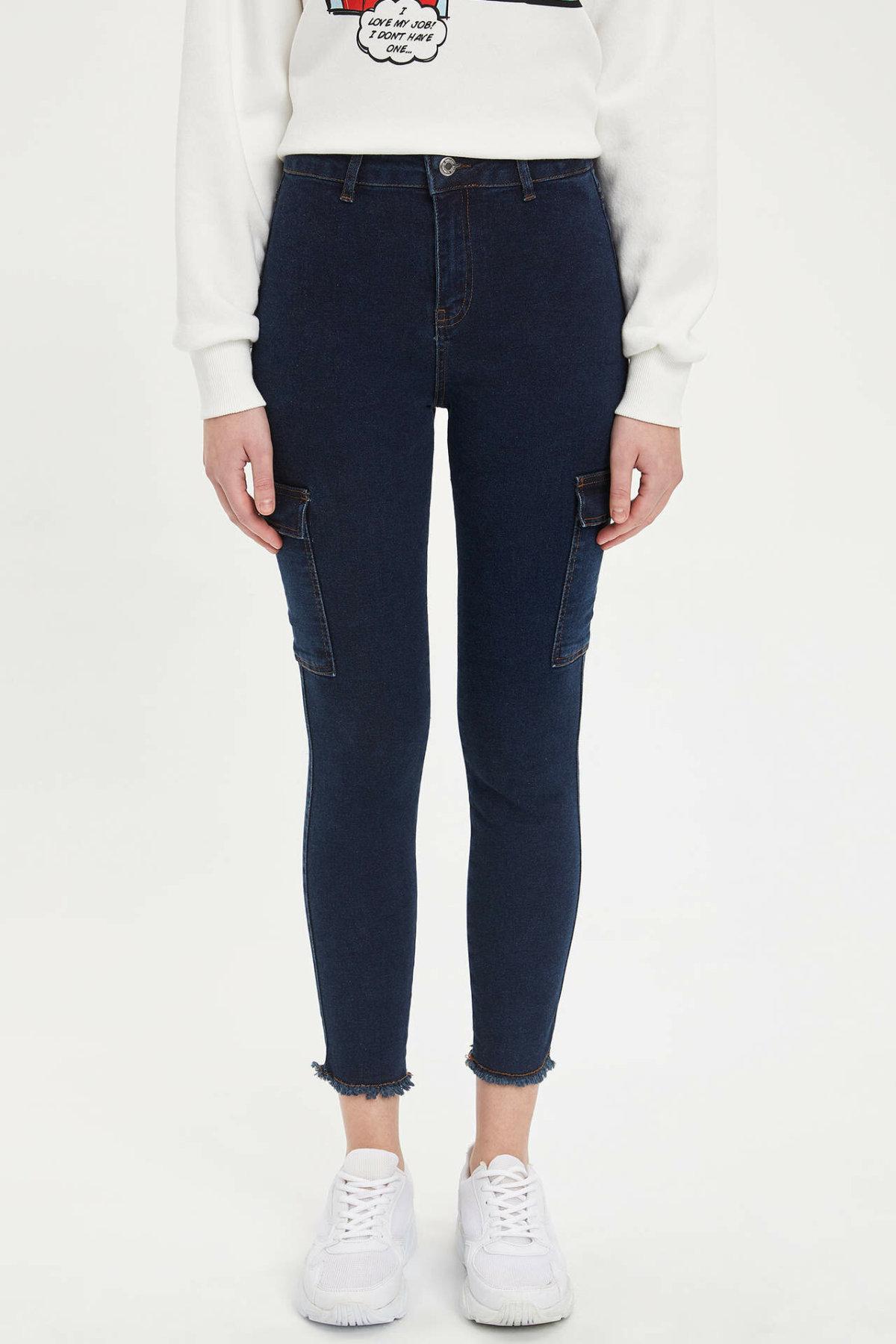 DeFacto Female Fashion Solid Jean Trousers Women Mid Waist Elastic Denim Female Slim Pencil Crop Pants Lady - L7215AZ19AU