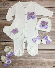MIYOCAR 0-6m cotton light purple crown rhinestone clothes set one piece bodysuit unique baby shower gift bling cothes S1