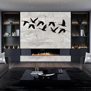 Arte de pared de Metal, arte de pájaros gansos, decoración de pared de Metal, decoración de pájaros de Metal, regalo de bienvenida, arte de pared de bandada de pájaros