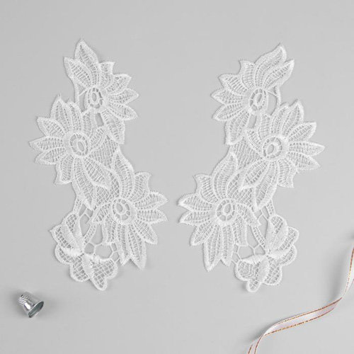 3557521 Appliques Sewing Lais Polyester 21*9,5 Cm White