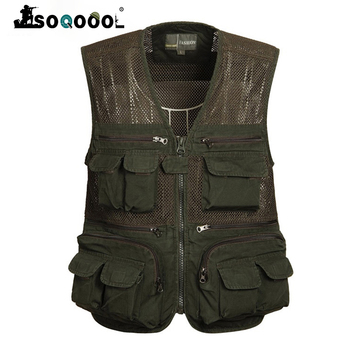 Soqoool Summer Tactical Breathable Multi Pockets Casual Vest Men Cotton Sleeveless Waistcoat Quick Drying Mesh Male L-4XL