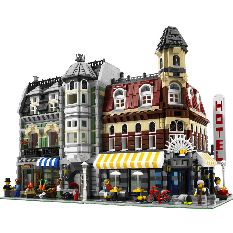 MOC CITY street Cafe Corner Building Blocks Compatible With 15002 Creator expert struct toys for children holiday education gift