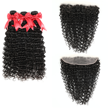 Deep-Wave-Bundles Frontal Hair-Extensions Closure Brazilian-Hair with Swiss Lace 13x6