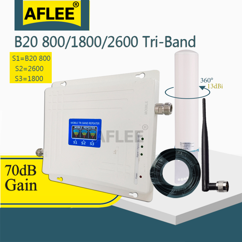 Tri-Band LTE B20 800 1800 2600 Mhz 4G Cell Phone Booster Mobile Signal Amplifier 2G 4G Cellular Repeater LTE DCS 4G Booster Set