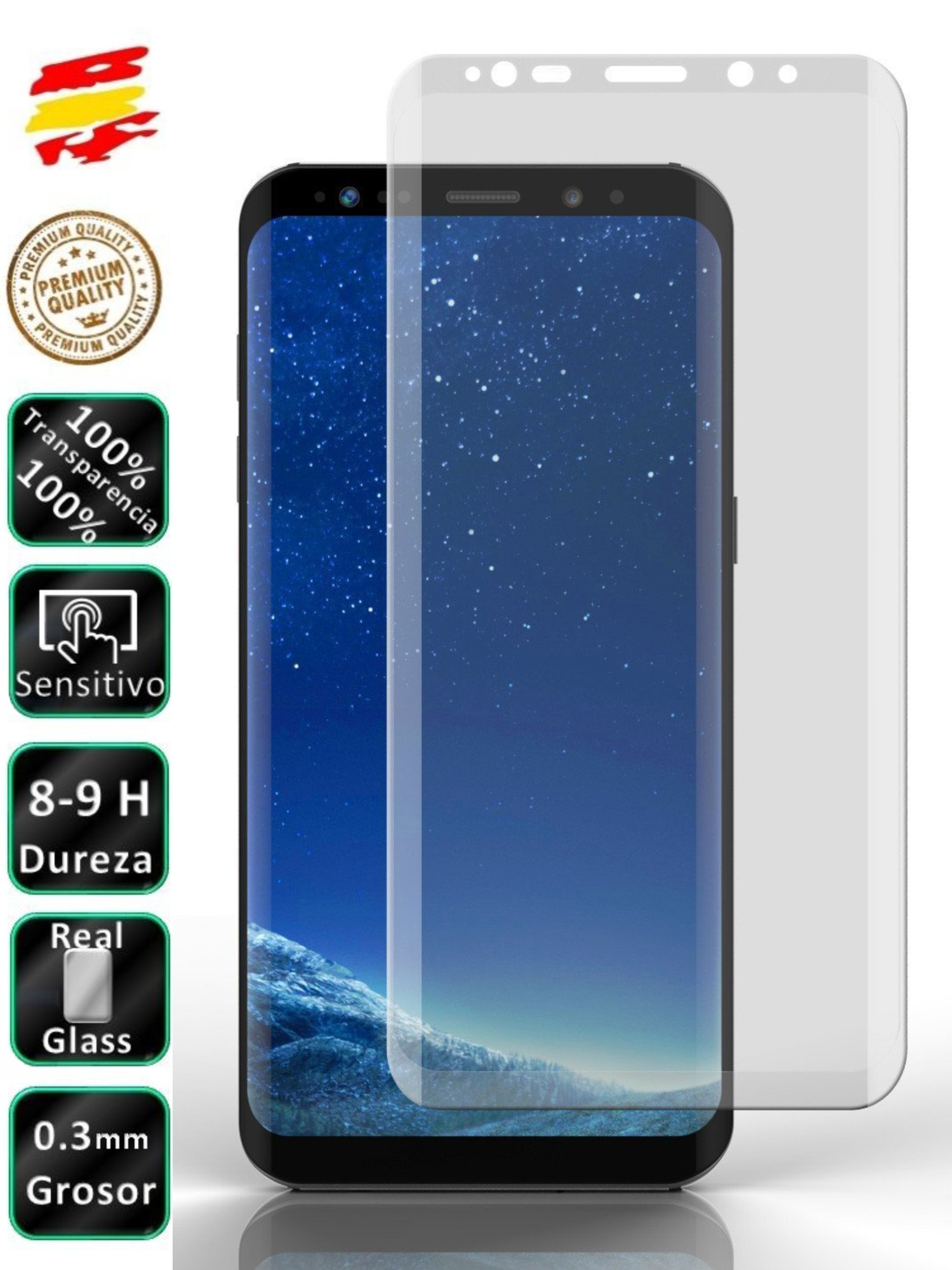 Protector Samsung Galaxy S9 Full Transparent 3D Tempered Glass Screen