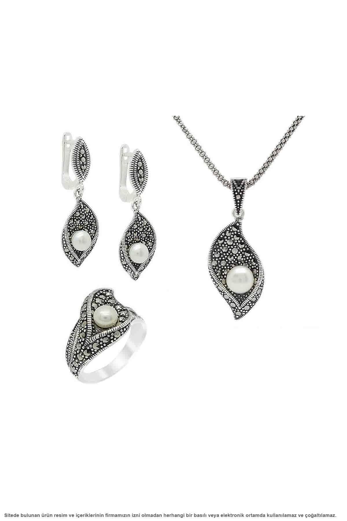 Argent perle marcassite pierre incrustée Triple ensemble bijoux