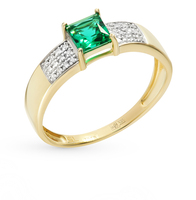 Fashion jewelry gold ring with emerald and diamond SUNLIGHT test 585 women's, female