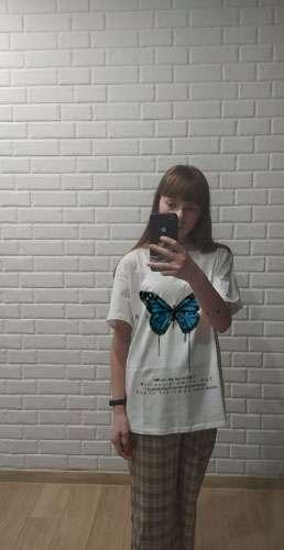 Butterfly T-shirt men and women 2021 Harajuku hip-hop short-sleeved T-shirt casual top streetwear oversized T-shirt women photo review