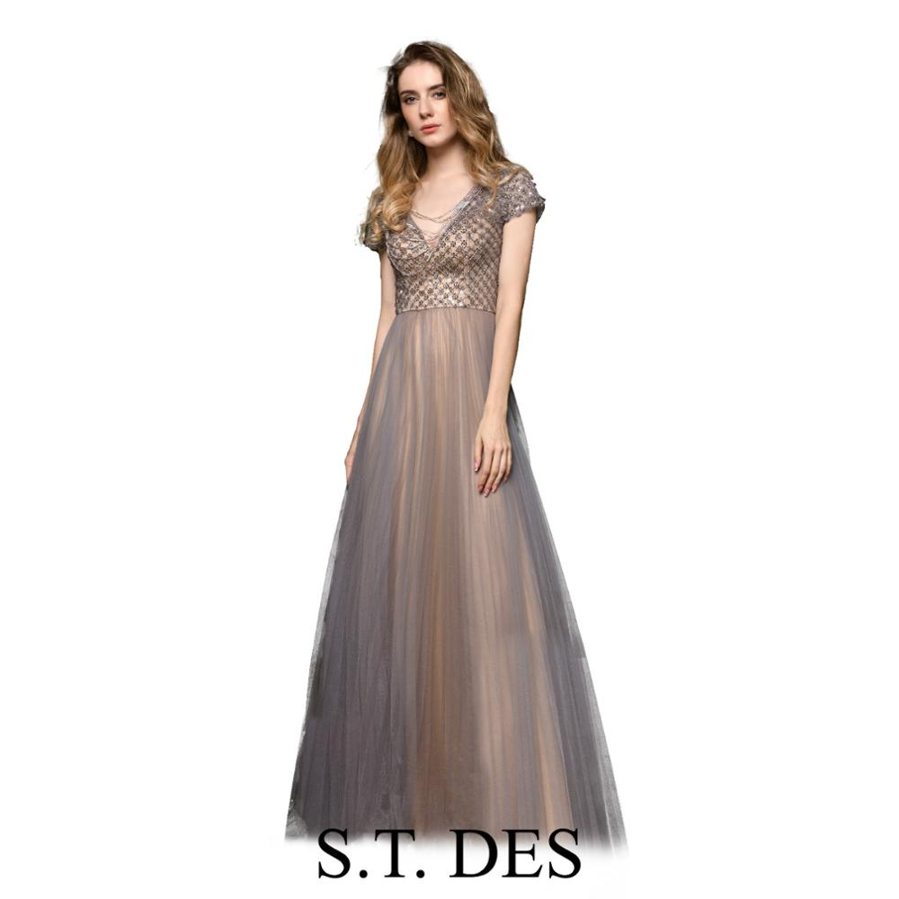 NEW 2020 St.Des A-line V-neck Russian Short Sleeve Grey Lace Sequin Designer Elegant Floor Length Evening Dress Party Dress