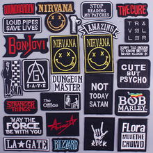 Letter Patch Letter Rock Embroidery Patches for Clothes DIY iron on Stripes Nirvana Patches