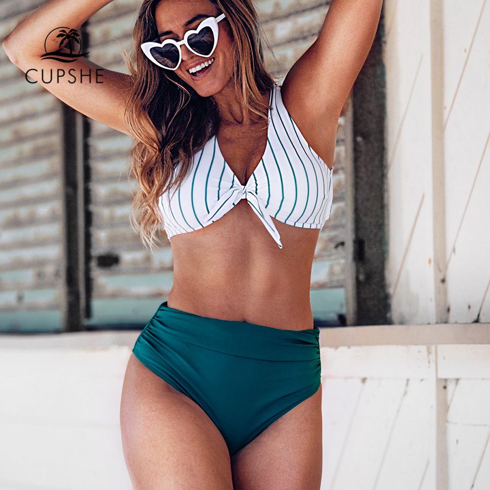 CUPSHE Teal Solid And Striped High-Waisted Bikini Sets Sexy Bow-knot Swimsuit Two Pieces Swimwear Women 2020 Beach Bathing Suits