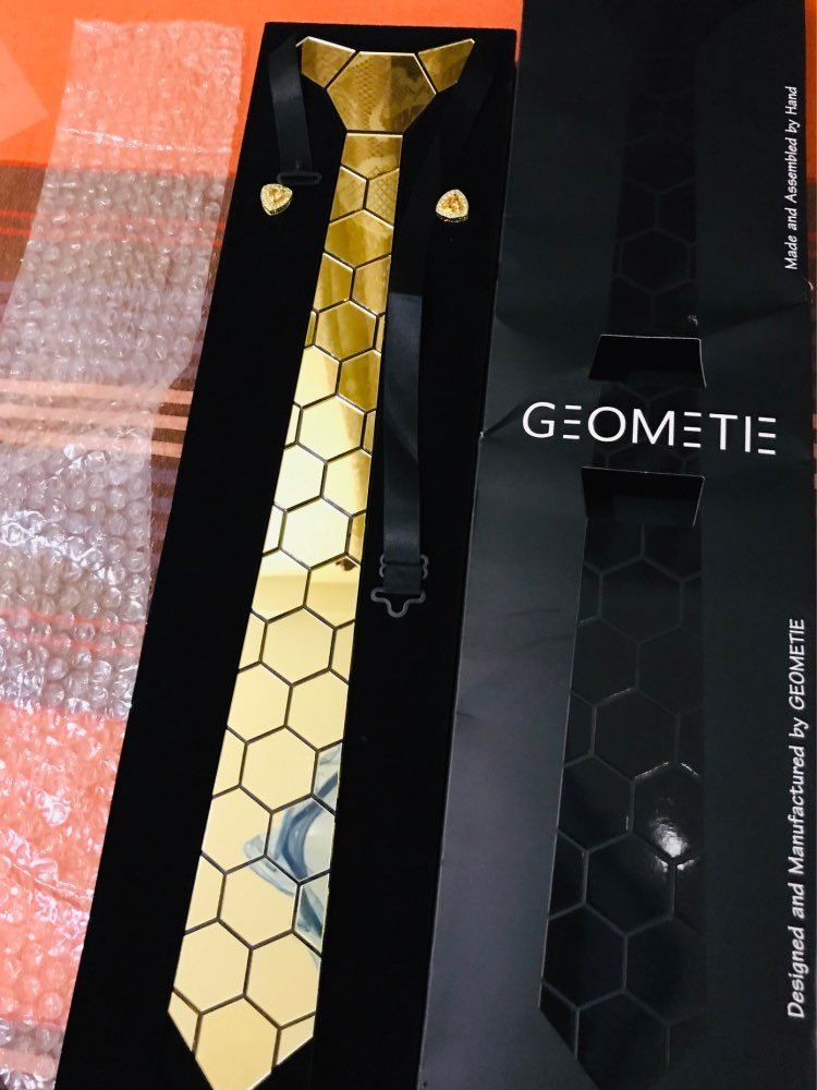 Handmade 24K Gold Mirror Neckties Classy Design Luxury Slim Hexagon Ties Cufflink Set Anniversary Gift Wedding Accessory