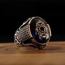 Bague en argent Sterling 925 de Style turc pour hommes, bijoux en pierre naturelle, Zircon, Onyx, Aqeq, cadeau Vintage, accessoires à la mode