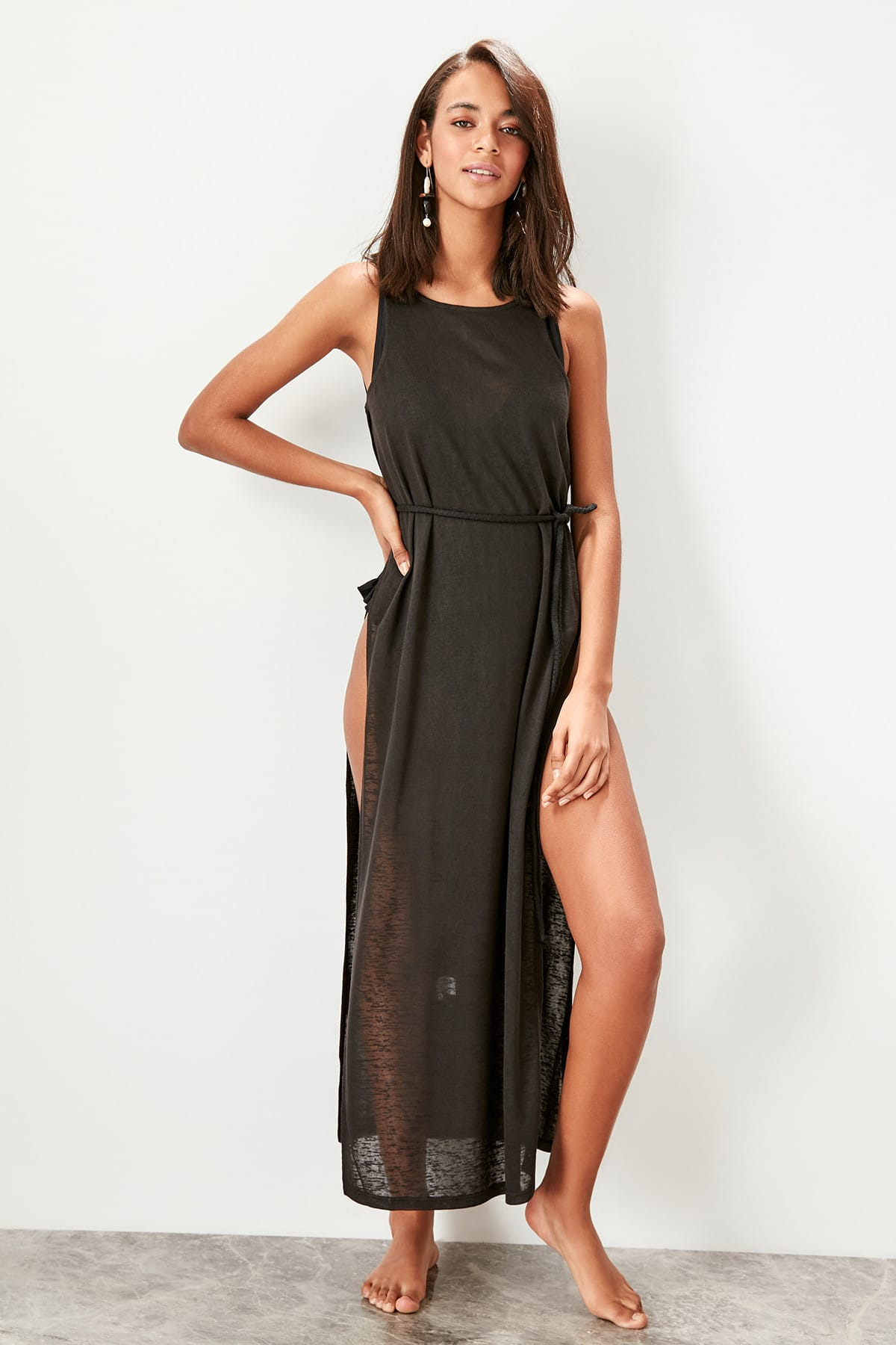 Trendyol Sides Slits Knitted Beach Dress TBESS19EP0004