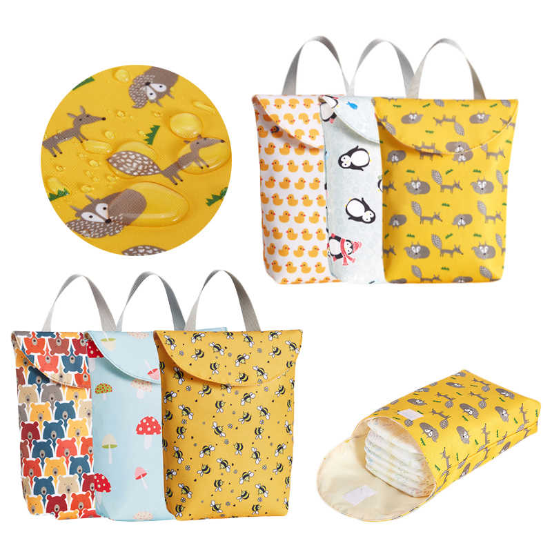 Multifunctional Baby Diaper Organizer Reusable Waterproof Fashion Prints Wet/Dry Bag Mummy Storage Bag Travel Nappy Bag 2019 New