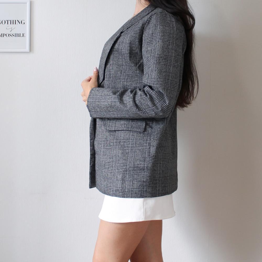 CBAFU autumn spring jacket women suit coats plaid outwear casual turn down collar office wear work runway jackets blazer N785 reviews №4 88696