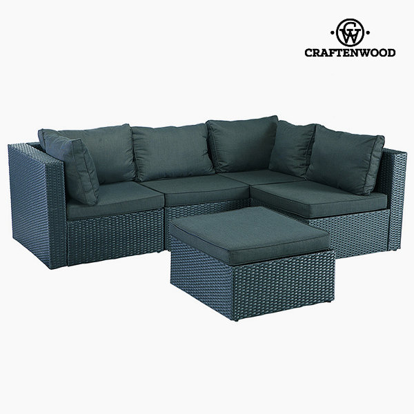 Sofa And Pouf Set (5 Pcs) Rattan Dark Grey