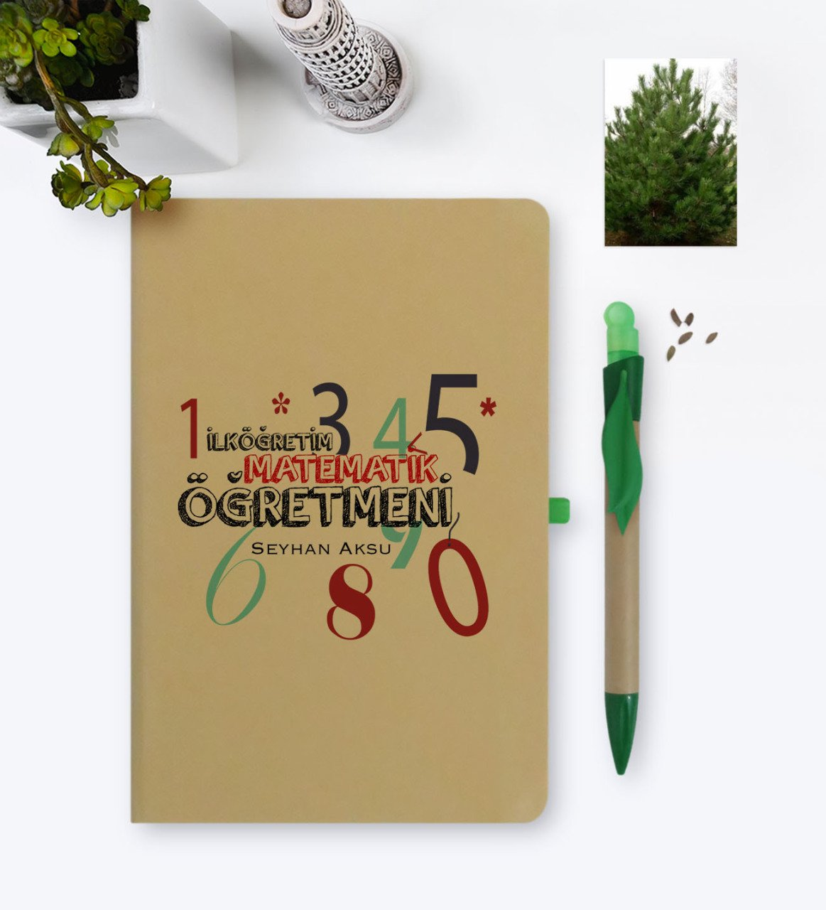 Personalized Primary Mathematics Teacher Environmentalist Notebook And Seeded Pen Set-1