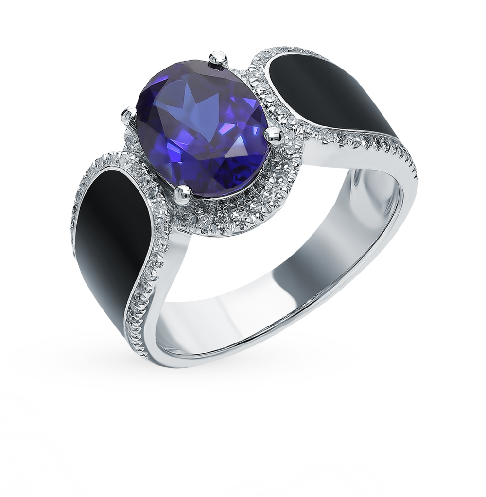 Gold Sapphire Ring, Enamel And Diamond SUNLIGHT Test 585