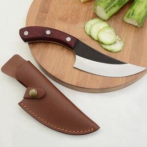 Image 5 - Qing el yapımı şef bıçak seti paslanmaz çelik mutfak bıçağı ve deri kılıf el yapımı dövme tam Tang kolu pişirme aksesuarları