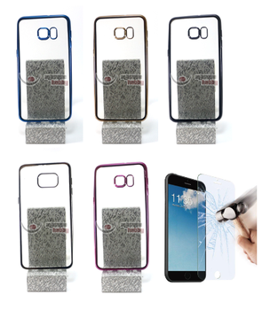 """Case Cover Bumper Gel Silicone For Samsung Galaxy S6 Edge Plus + (4G) 5.7 """"(Color selection) + optional Protector"""