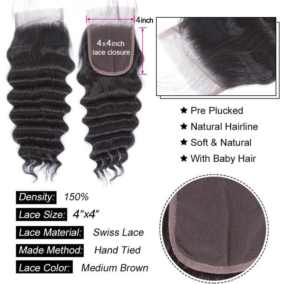 Малайзийские свободные волнистые пряди с закрытием, прозрачные 5х5, с пряди 100% Реми, пряди человеческих волос с закрытием