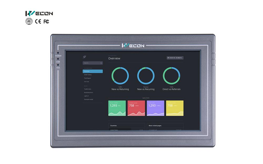 Wecon High 10.2inch LINUX Embedded Panels Support Canbus,5 Serial Ports, Wifi, RS232/RS485/RS422