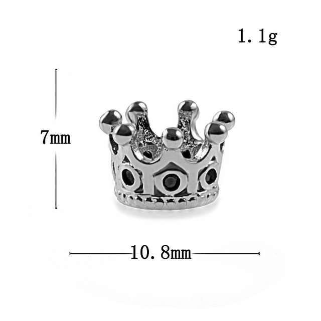 Charm Crown Silver fashion beads big hole DIY bracelet ACCESORIES jewerly