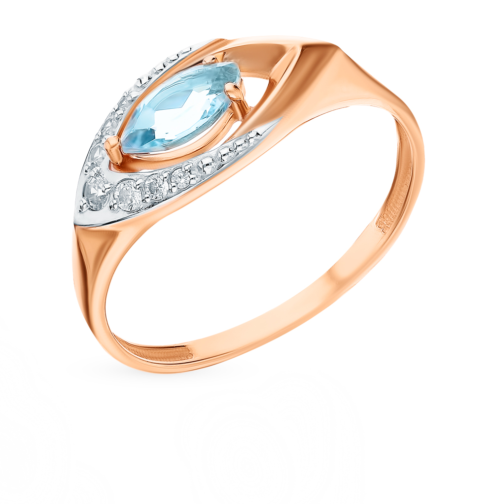 Gold Ring With Topaz And Cubic Zirconia Sunlight Sample 585