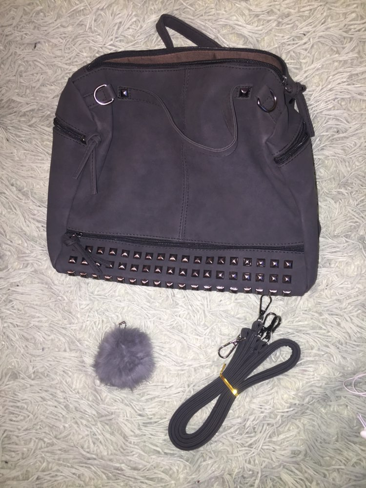 Bolish Vintage Nubuck Leather Female Top handle Bags Rivet Larger Women Bags Hair Ball Shoulder Bag Motorcycle Messenger Bag women bag shoulder bagsmessenger bag - AliExpress
