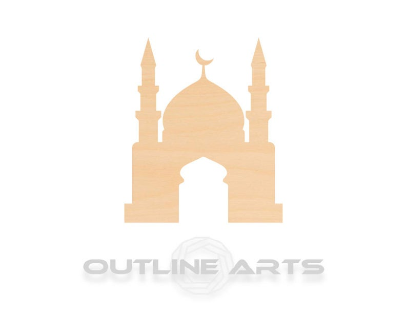 10 Pieces Mosque Laser Cut Wood Shape Craft Supply