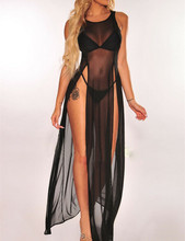 Frauen Bikini Badeanzug Cover up Sommerkleid Strand Tragen Mesh Sheer Langes Kleid Sommer Badeanzug Holiday One Stück Sarong pareo(China)