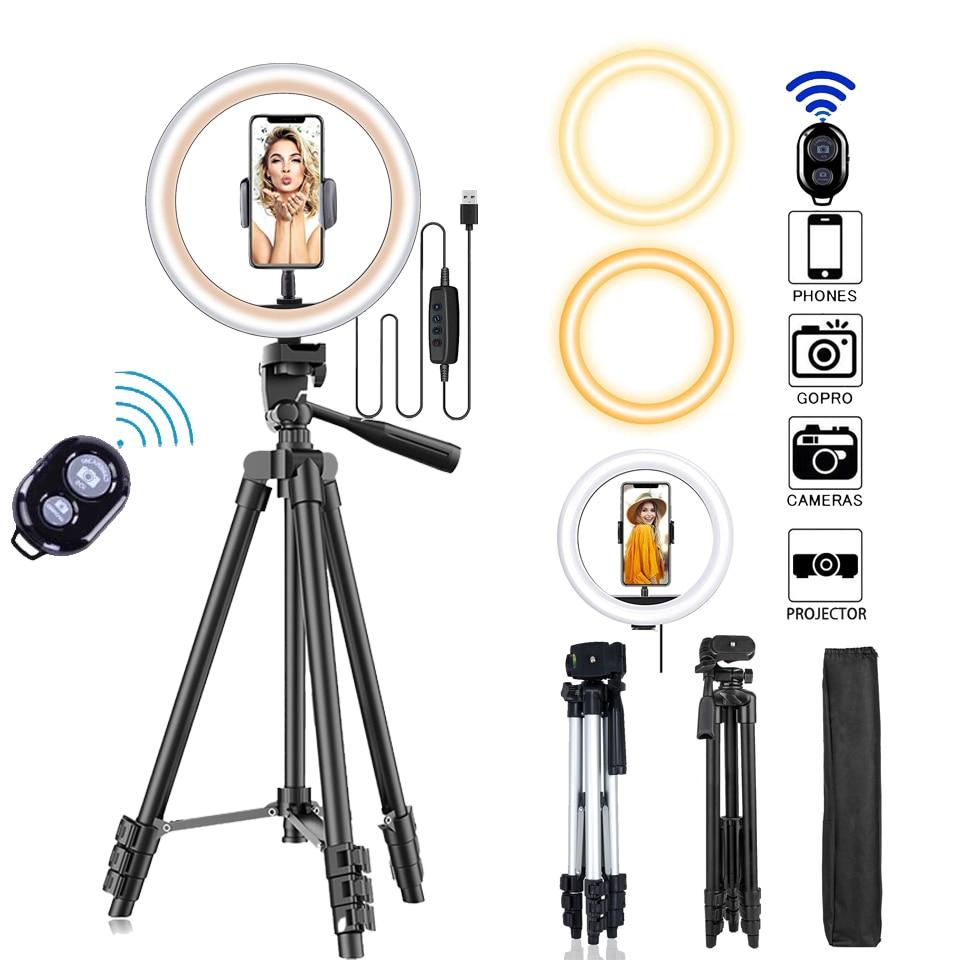 26 см фото кольцевой светильник светодиодное кольцо для селфи с светильник для телефона с дистанционным управлением по Bluetooth лампа фотограф...